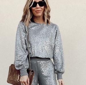 Express Sequin Sweatshirt Silver Sparkle Top